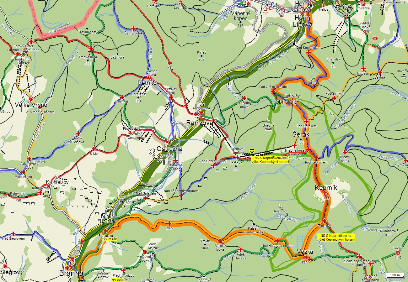 Návrh trasy - z Branné, přes Vozku, Keprník a Šerák do Lipové