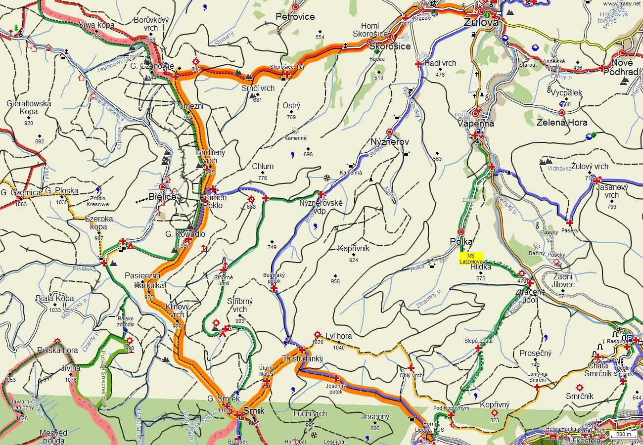 Návrh trasy z Horní Lipové, přes Smrk a Špičák do Žulové