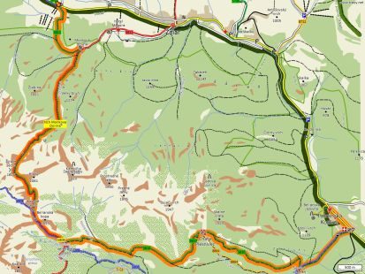 mapa trasy ždiar - kopské sedlo - tatranská kotlina