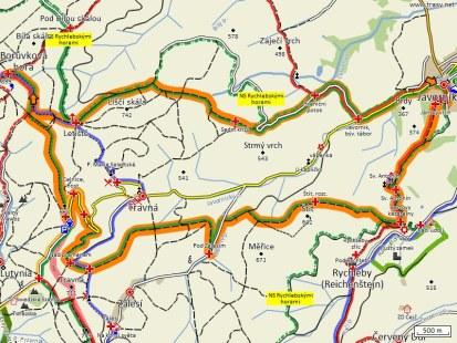 mapa trasy javorník - borůvková hora a zpět